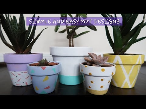 Diy 5 Cute Designs To Paint A Flower Pot Simple And Easy Summer Craft Project Youtube