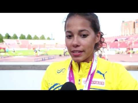 Angelica Bengtsson (SWE) after winning bronze in the Pole Vault, Tampere 2013