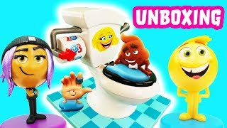 Toilet Trouble Game Unboxing with Emoji Movie Gene, Hi-5, Jailbreak & Smiler! Learn Numbers Counting