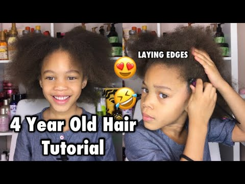 4 Year Old Hair Tutorial   Watch Her Lay Her Edges Like A Pro 😂
