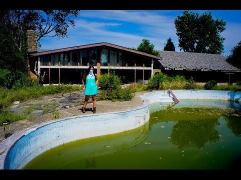 Abandoned Mansion INDOOR POOL and  Outdoor Pool WITH GREEN  ALGAE 2 of 2