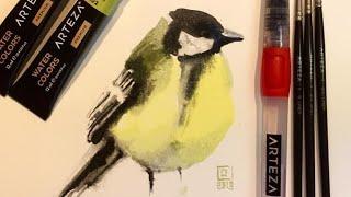 Bird study for beginners - ARTEZA Brushes & Paint