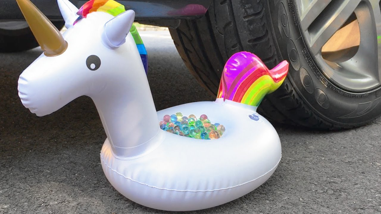 Crushing Crunchy & Soft Things by Car! EXPERIMENT: Car vs Unicorn Orbeez