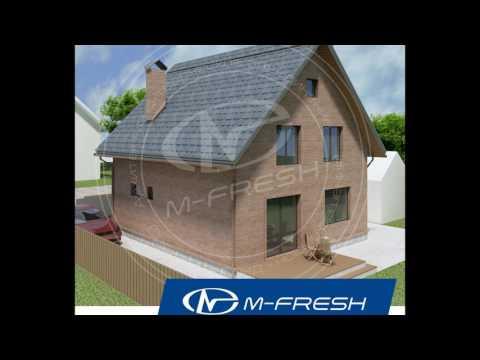 M-fresh Anderson (Готовый архитектурный проект дома с мансардой, кирпичный фасад, терраса, витраж)