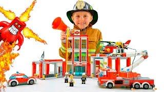 Лего Сити Пожарная Часть 60110 и Пожарный Даник. Тушим Фургон Пиццерию 60150. Lego City Fire Station