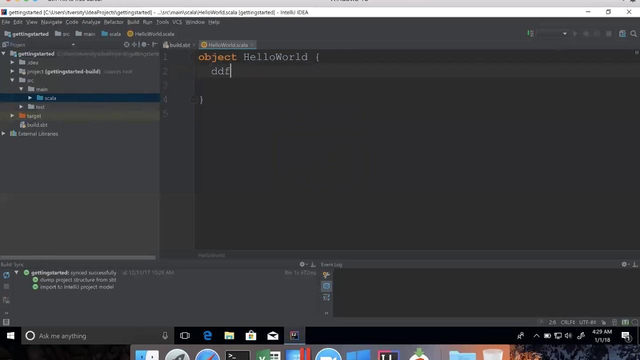 Develop Hello World program using Scala in IntelliJ IDEA IDE on Windows 10