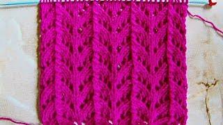 Вертикальный ажурный узор Вязание спицами Видеоурок 227