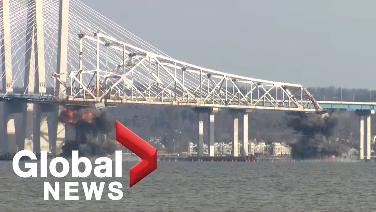 Portions of New York's Tappan Zee Bridge destroyed in controlled demolition