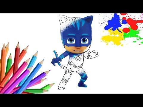 ГЕРОИ В МАСКАХ на русском Раскраски для детей КЭТБОЙ Мультик  PJ Masks Учим цвета coloring pages