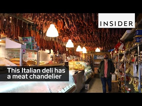 This Italian deli in the Bronx has a meat chandelier