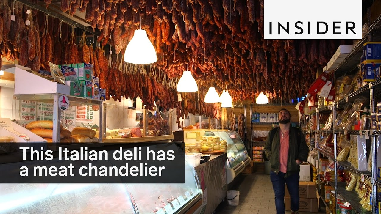 This Italian deli in the Bronx has a meat chandelier - YouTube