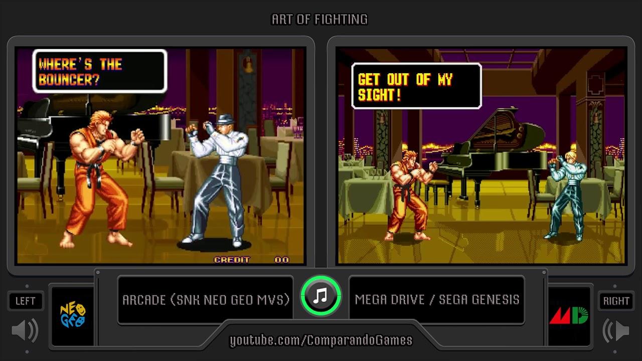 Art Of Fighting Arcade Vs Sega Genesis Side By Side Comparison