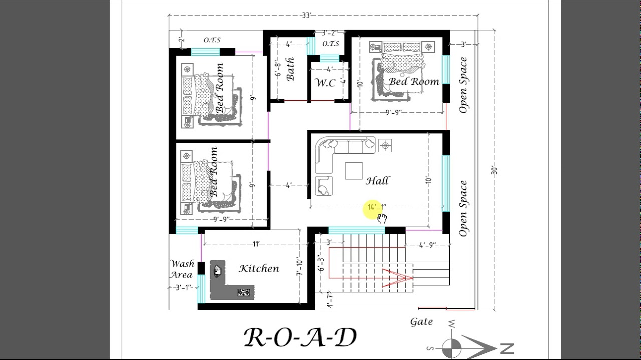 1000  sq  ft  3 BED ROOM BEST  HOUSE  PLAN  1000    3
