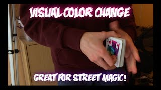 Cool VISUAL Color Change! Card Trick Performance And Tutorial!