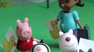 Свинка Пеппа и Доктор Плюшева рисуют уток.