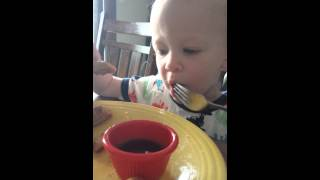 Brecken Getting His Breakfast On.