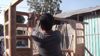Applying the bamboo curtain - Building a Bahay Kubo with Cris Bamboo