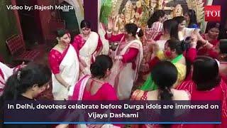 Navratri 2021: Devotees immerse Durga idols on Vijaya Dashami