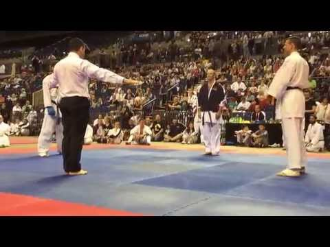 Sensei Anthony Ryan GKR Karate World Cup 2015 Liverpool Open Male Kumite. Double ippon! Shihan block