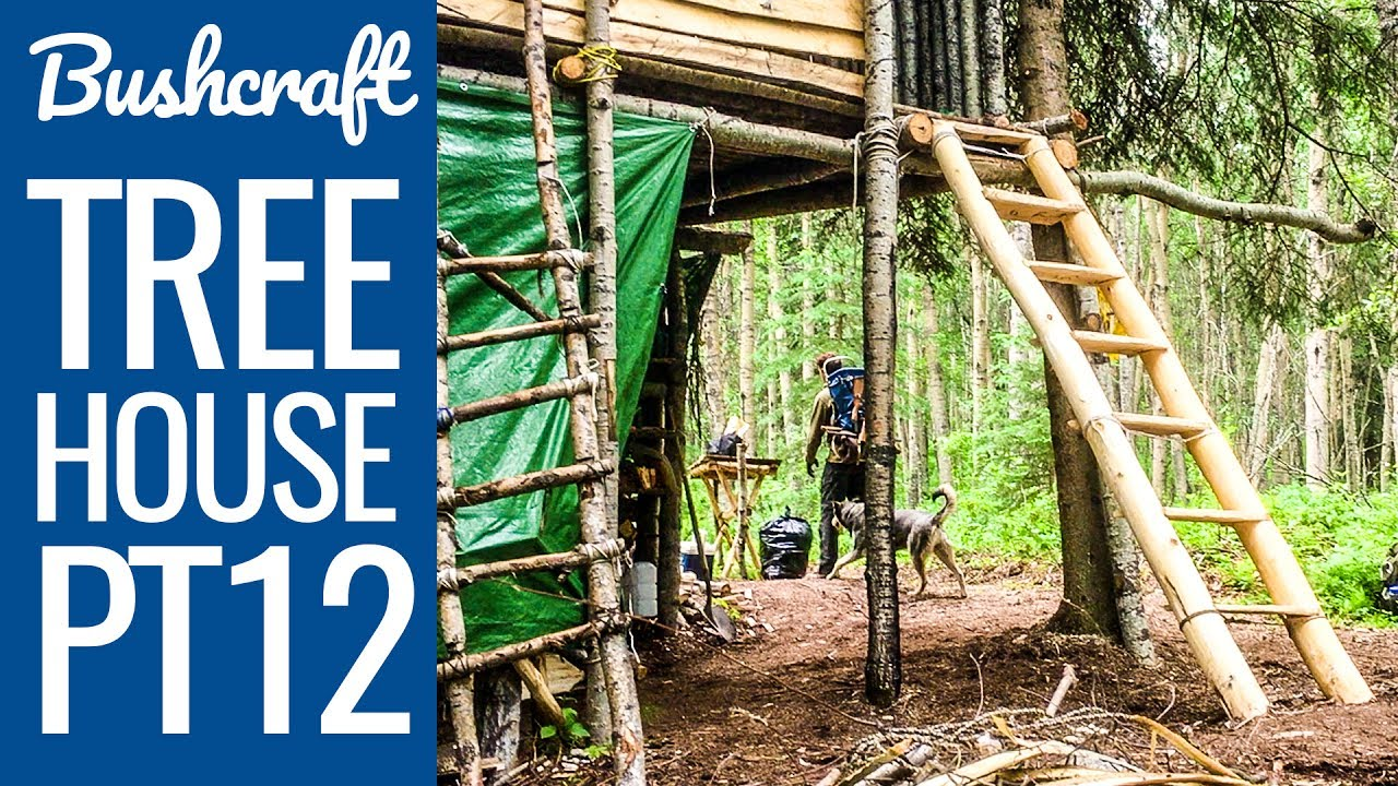 Beautiful Bushcraft Treehouse 12   Building A Staircase To The Bushcraft Camp Shelter!