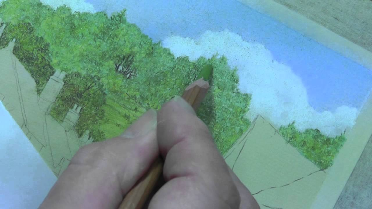 how to draw distant trees in pastel pencils youtube