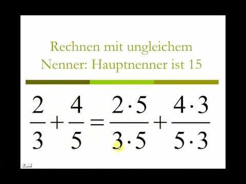 bruchrechnung - kostenloses video! - addition gleichnamiger und