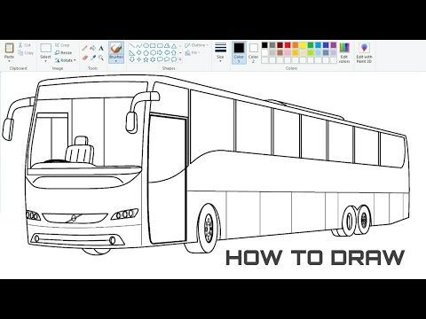 How to draw VOLVO Bus in 3D | Drawing 3D Bus on computer using Ms Paint | Bus drawing Tutorial.