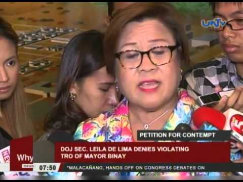 Sec. De Lima denies violating TRO of Mayor Binay