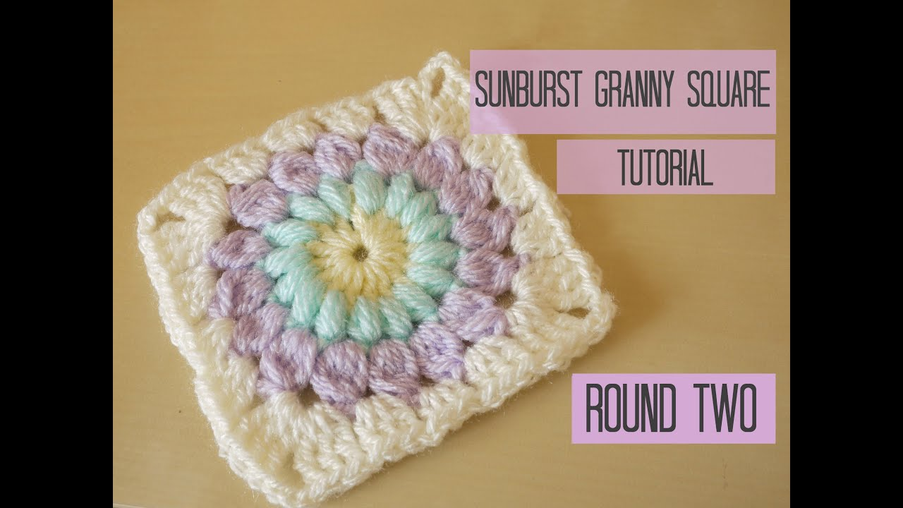 Crochet Stitches Granny Square Youtube : CROCHET: Sunburst granny square tutorial, ROUND TWO Bella Coco ...