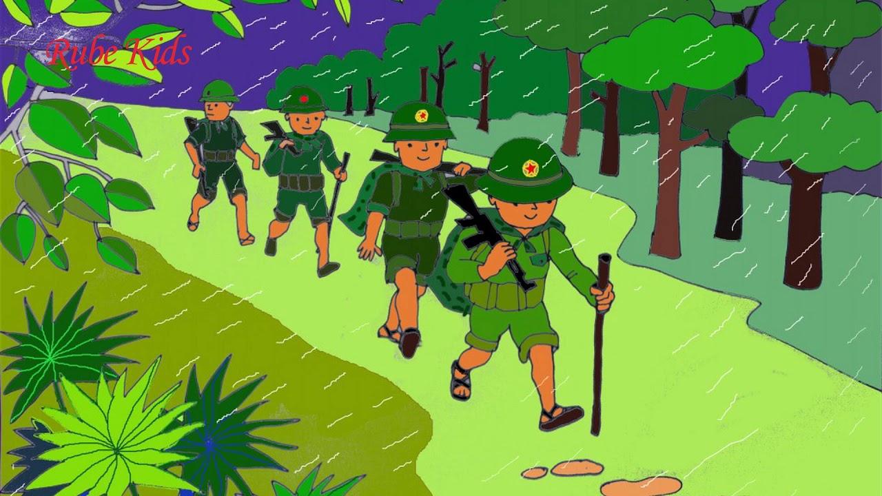 Thơ hay cho bé_Bài thơ Chú Bộ Đội Hành Quân Trong Mưa