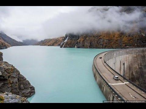 Mauvoisin Dam is a concrete variable radius arch dam across the Val de Bagnes