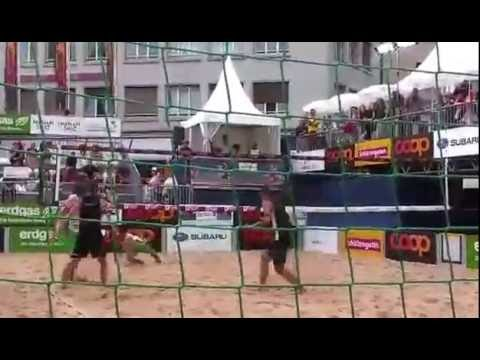 Sexy Swiss Beach volleyball players in action