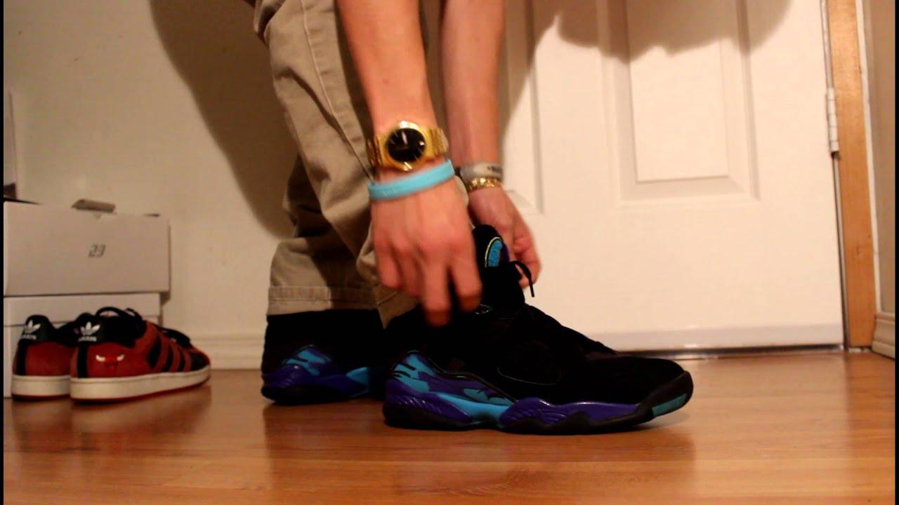 2007 Jordan 8 Aqua On Feet (with khaki
