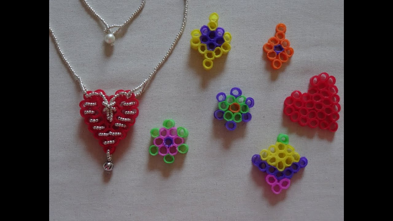 How To Make A Heart Necklace With Recycled Drinking Straws No Glue Used Valentines Day Craft