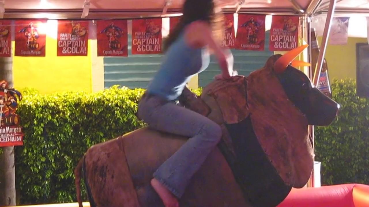 beautiful girl rides mechanical bull - youtube