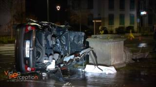Accident avec désincarcération, fontaine d'eau de 10 mètres