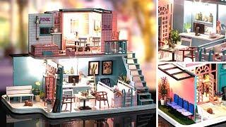 DIY Miniature Dollhouse Kit || Pinky Coffee ( With Full Furniture & Light )