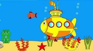 Мультик - Раскраска для малышей. Подводная лодка. Развивающий мультфильм