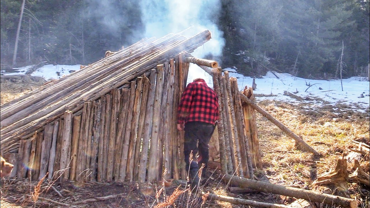 5 DAYS at WINTER BUSHCRAFT CAMP Alone in Woods Build Shelter Campfire Cooking on Stone Long Log Fire