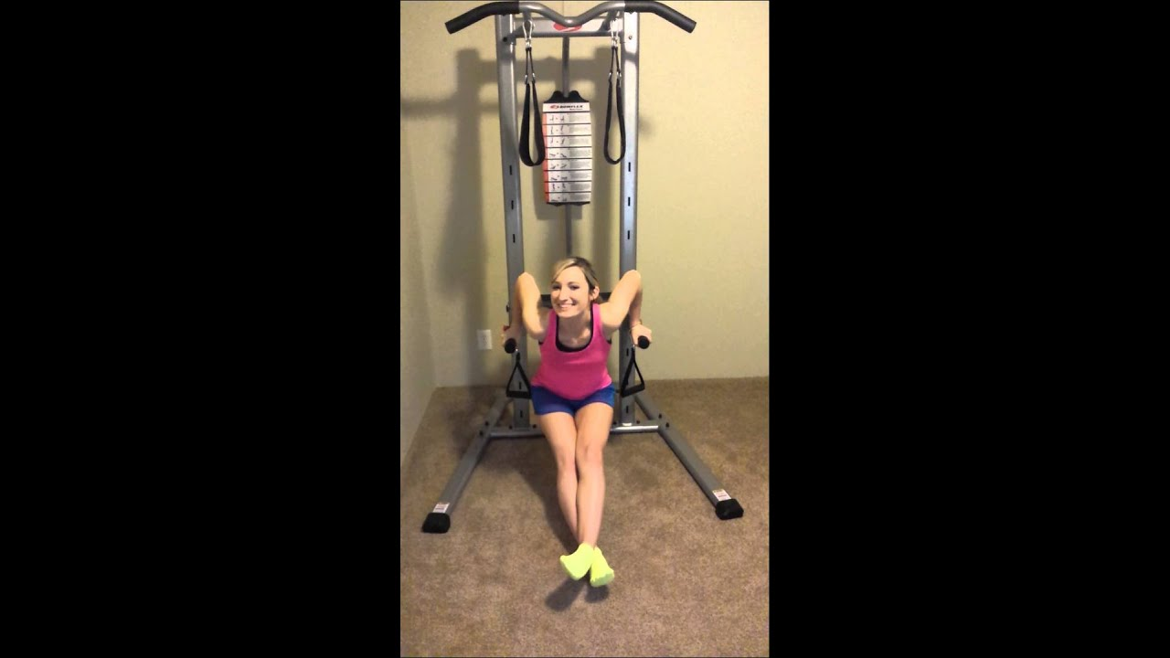 Bench dips using the bowflex body tower