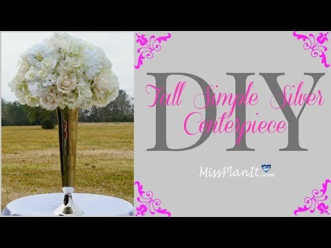 DIY Tall Simple Silver Vase With White Roses Centerpiece | Tall Glam Centerpiece | DIY Tutorial