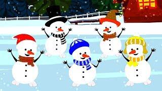 пять маленьких снеговиков смешной стишок для детей рождественская песня Five Little Snowman