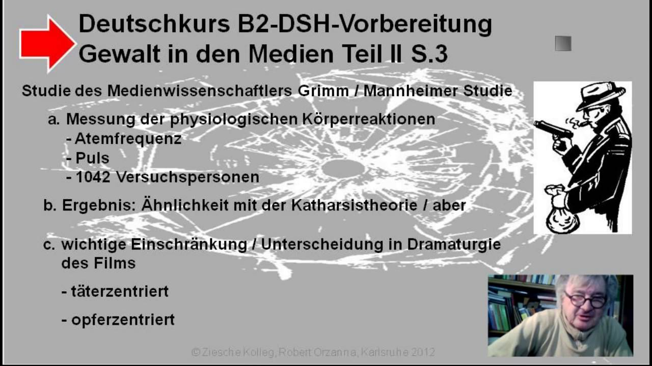 b2 c1 dsh vorbereitung textproduktion gewalt in medien - Dsh Prfung Beispiel