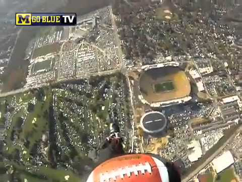 First Person view Skydive into Michigan Stadium