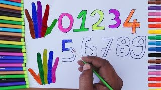 Drawing Numbers 0 to 9 Coloring for Kids | How to Draw Hand Coloring Pages for Children Toddlers