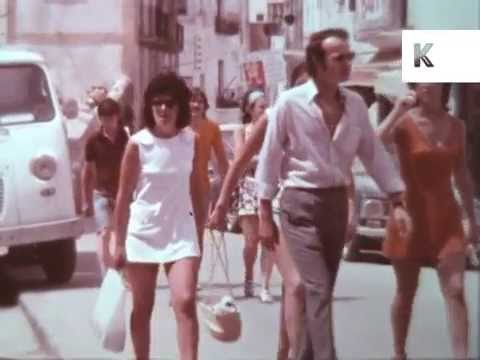 1960s Ibiza Old Town, Tourists, Package Holiday, Colour Archive Footage