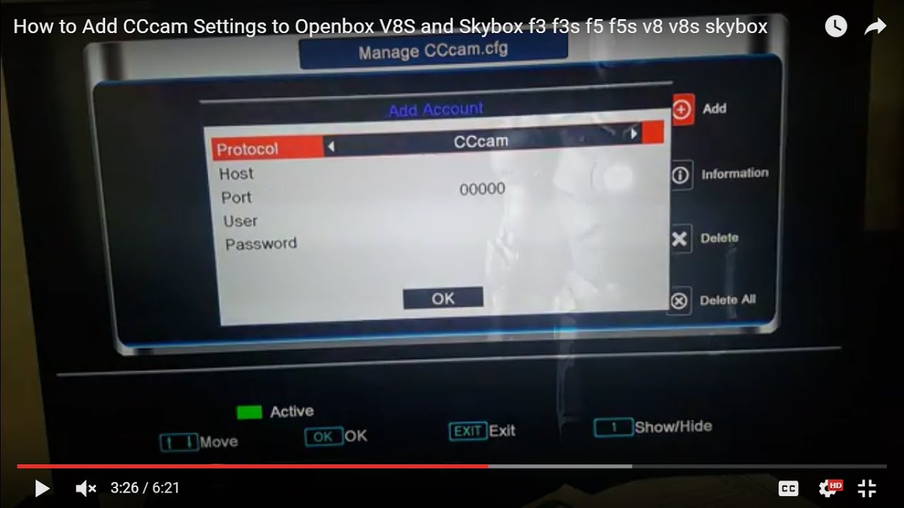 How to Add CCcam Settings to Openbox V8S and Skybox f3 f3s f5 f5s v8 v8s  skybox