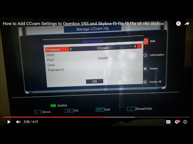 How to Add CCcam Settings to Openbox V8S and Skybox f3 f3s f5 f5s v8