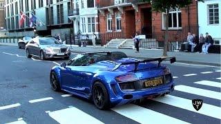 (MODIFIED) Audi R8 V10 (GT Spyder) INVASION in London! REVS & Acceleration SOUNDS!