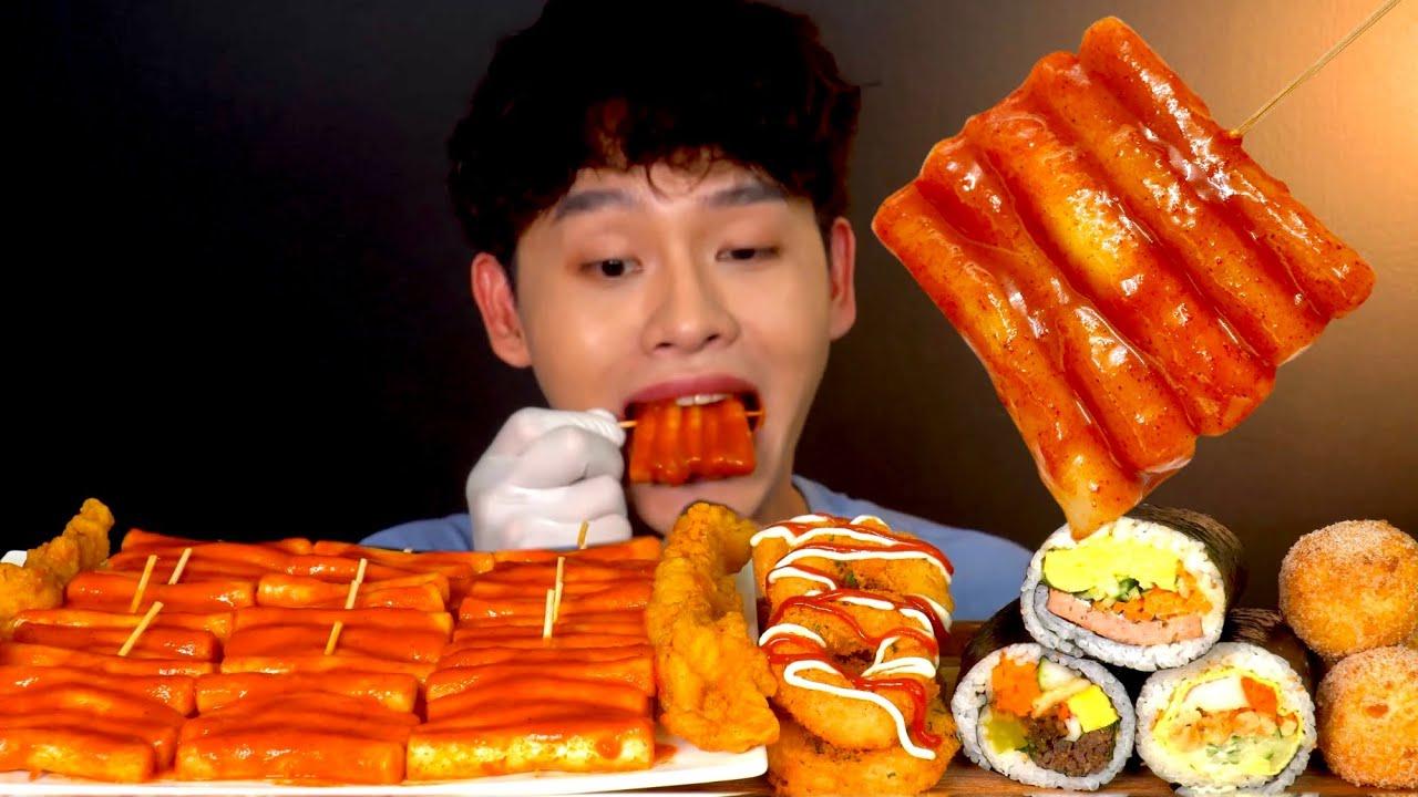 ASMR 매콤한 떡꼬치🥵 바삭꼬들목 통김밥 츄러스 치즈볼 먹방~! Spicy Tteokbokki With Shrimp Ring Fried Chicken Gimbab MuKBang